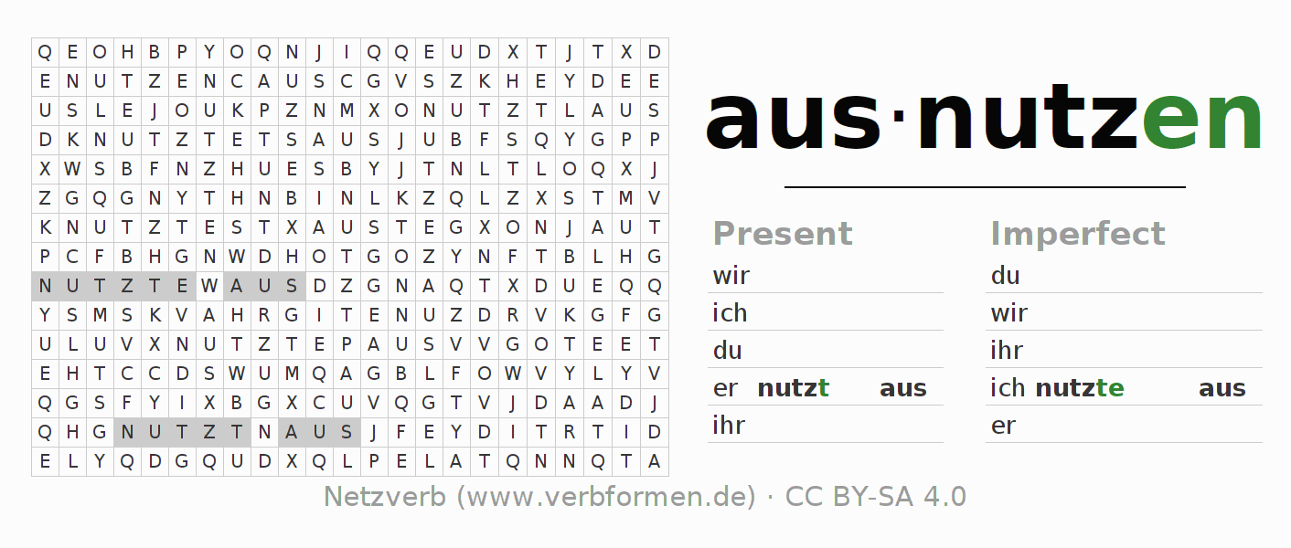 Word search puzzle for the conjugation of the verb ausnutzen