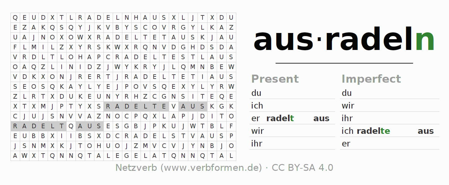 Word search puzzle for the conjugation of the verb ausradeln