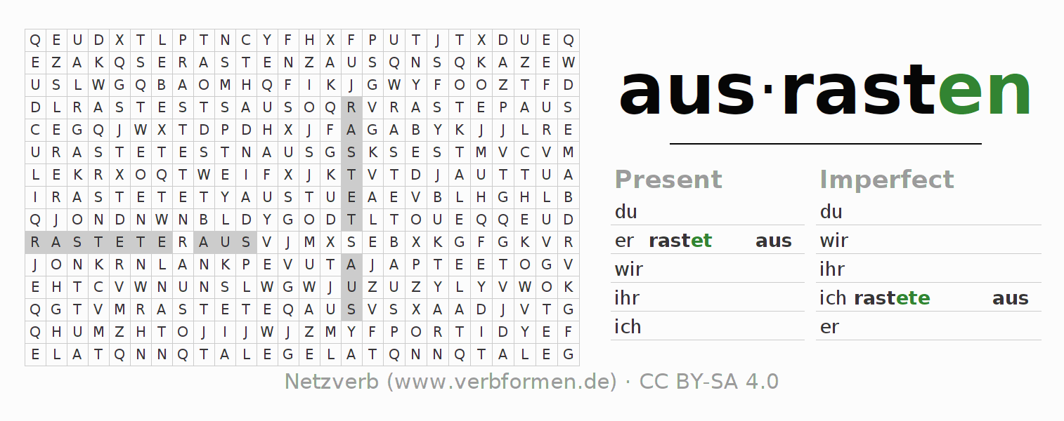 Word search puzzle for the conjugation of the verb ausrasten (hat)