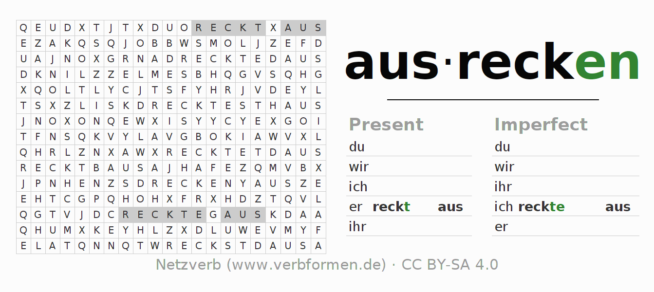 Word search puzzle for the conjugation of the verb ausrecken