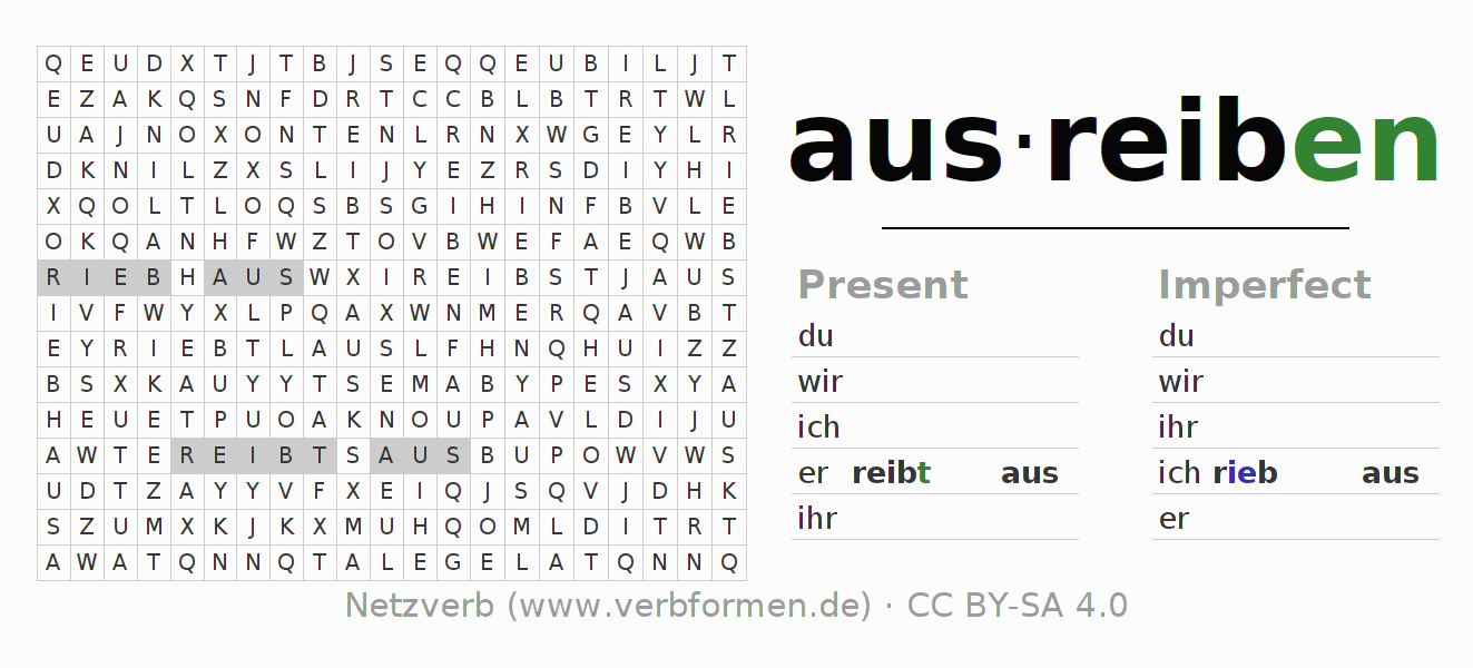 Word search puzzle for the conjugation of the verb ausreiben