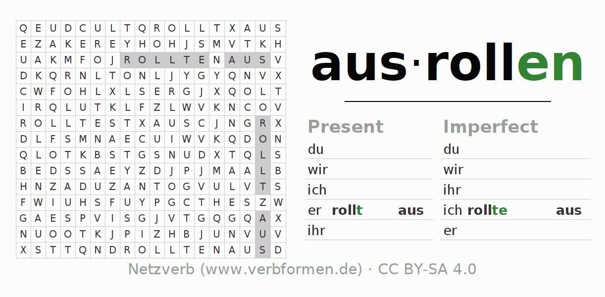 Word search puzzle for the conjugation of the verb ausrollen (hat)