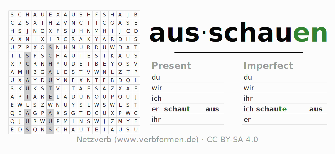 Word search puzzle for the conjugation of the verb ausschauen
