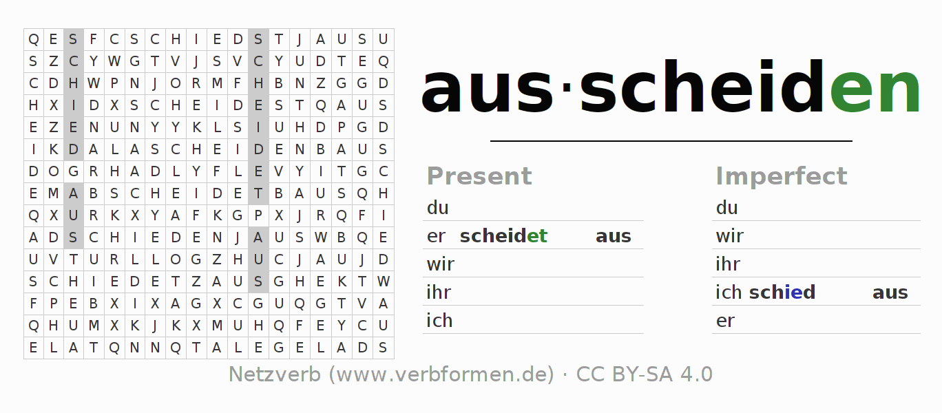 Word search puzzle for the conjugation of the verb ausscheiden (ist)
