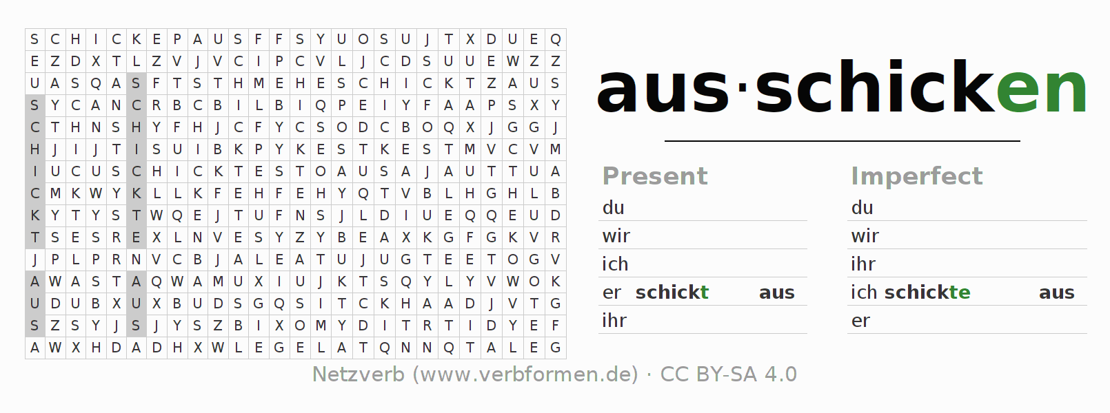 Word search puzzle for the conjugation of the verb ausschicken