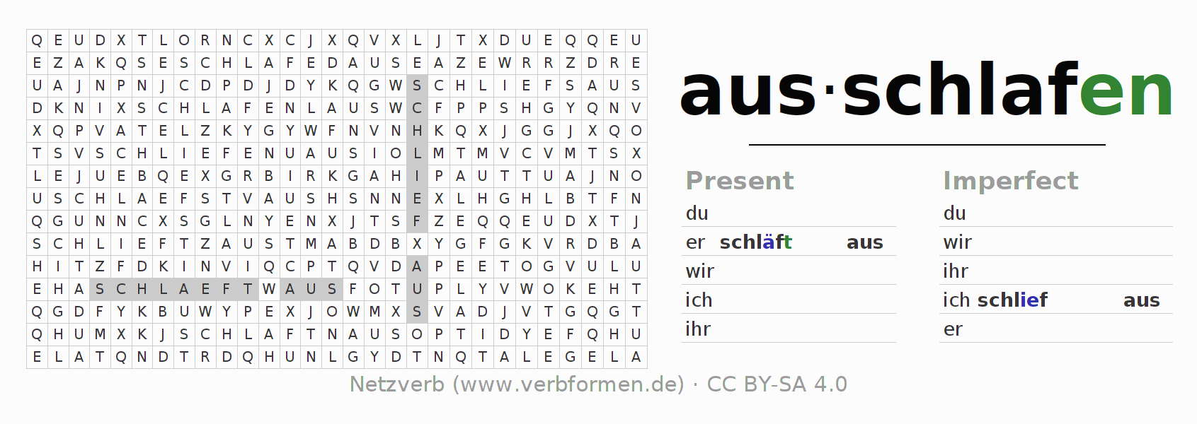 Word search puzzle for the conjugation of the verb ausschlafen
