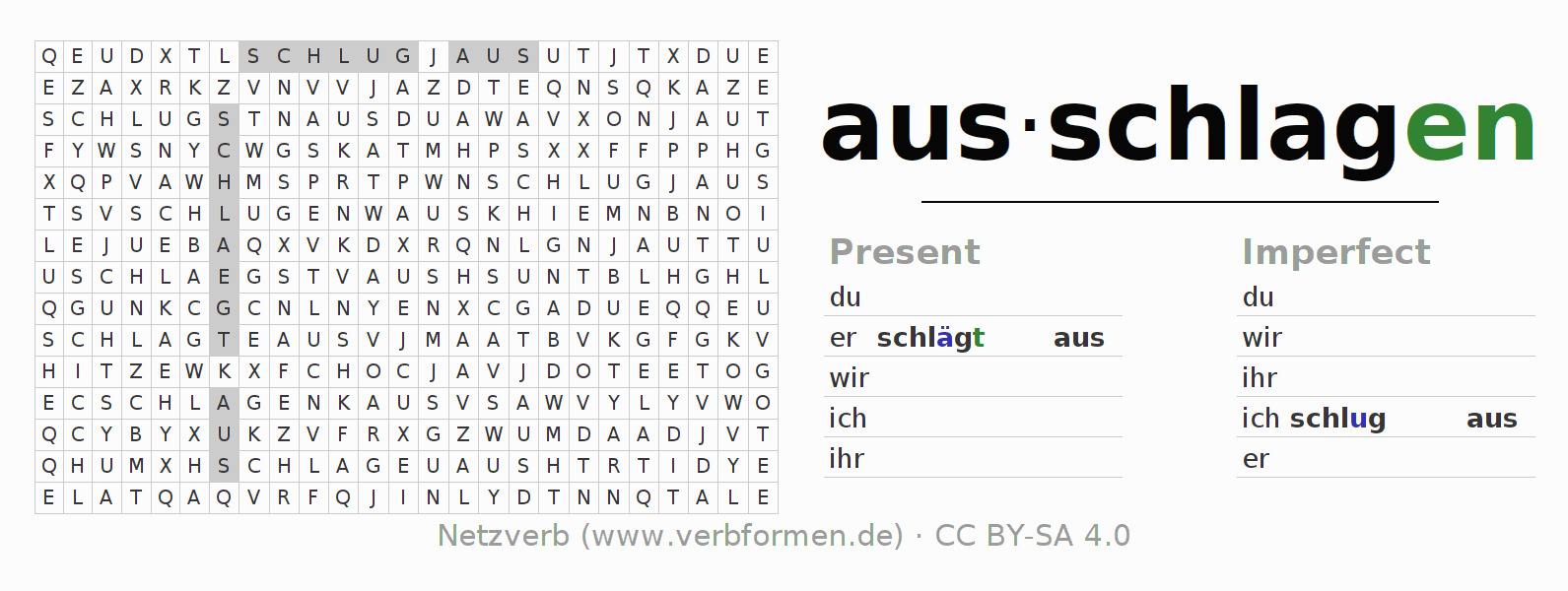 Word search puzzle for the conjugation of the verb ausschlagen (ist)