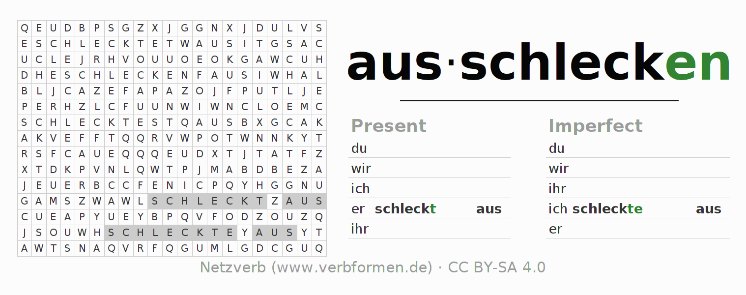 Word search puzzle for the conjugation of the verb ausschlecken
