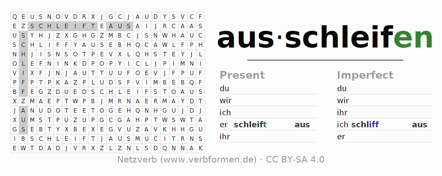 Word search puzzle for the conjugation of the verb ausschleifen