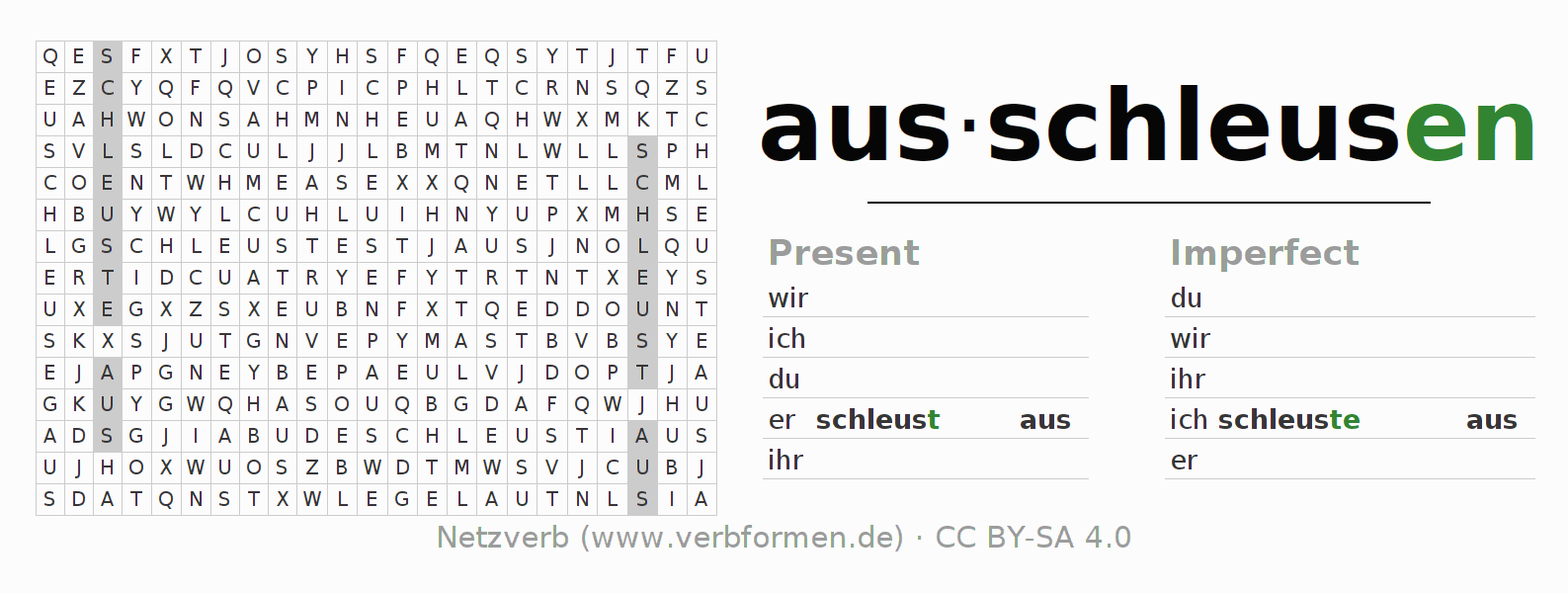 Word search puzzle for the conjugation of the verb ausschleusen (hat)