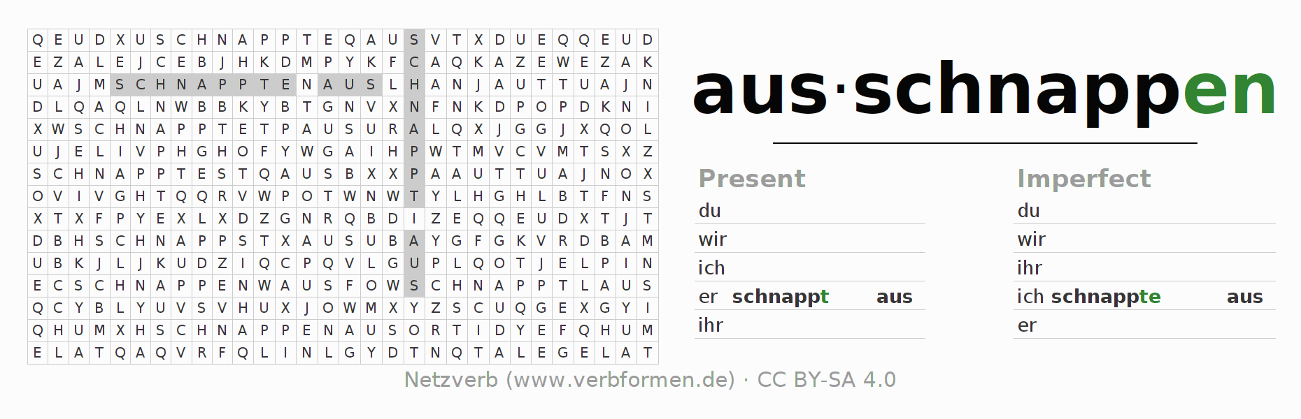 Word search puzzle for the conjugation of the verb ausschnappen