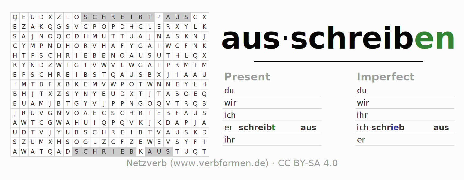 Word search puzzle for the conjugation of the verb ausschreiben
