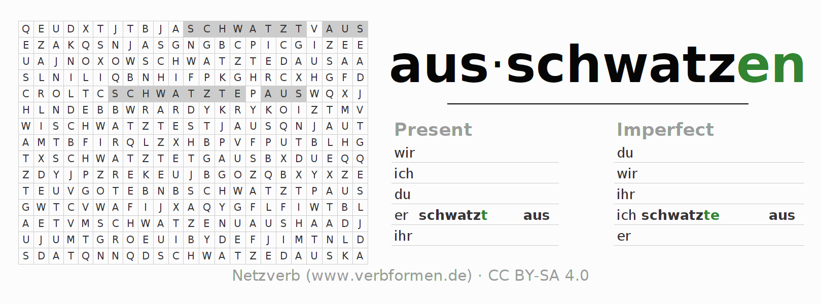 Word search puzzle for the conjugation of the verb ausschwatzen