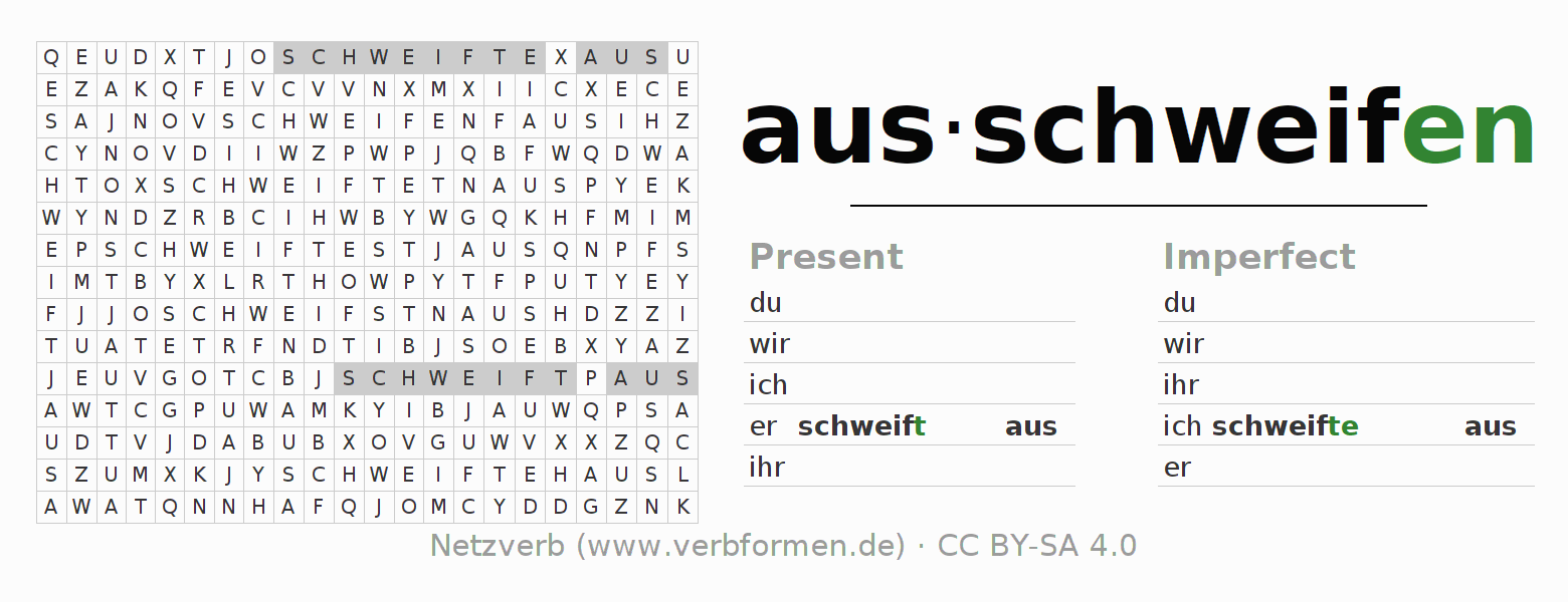 Word search puzzle for the conjugation of the verb ausschweifen (hat)