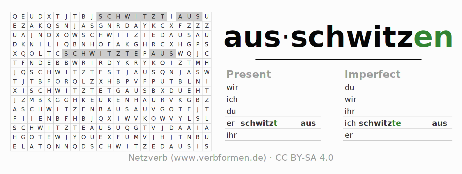Word search puzzle for the conjugation of the verb ausschwitzen (hat)