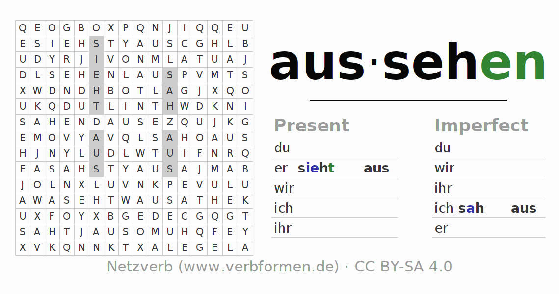 Worksheets Verb Aussehen Exercises For Conjugation Of German. Word Se Puzzle For The Conjugation Of Verb Aussehen. Worksheet. Simple Verb Worksheets At Mspartners.co
