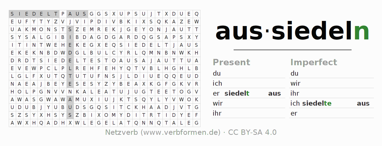 Word search puzzle for the conjugation of the verb aussiedeln (hat)