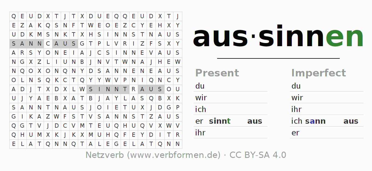 Word search puzzle for the conjugation of the verb aussinnen