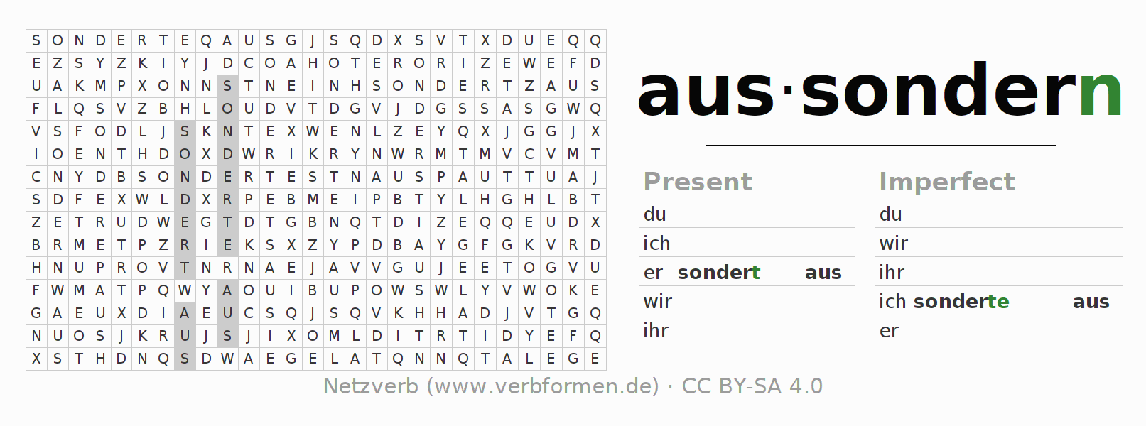 Word search puzzle for the conjugation of the verb aussondern