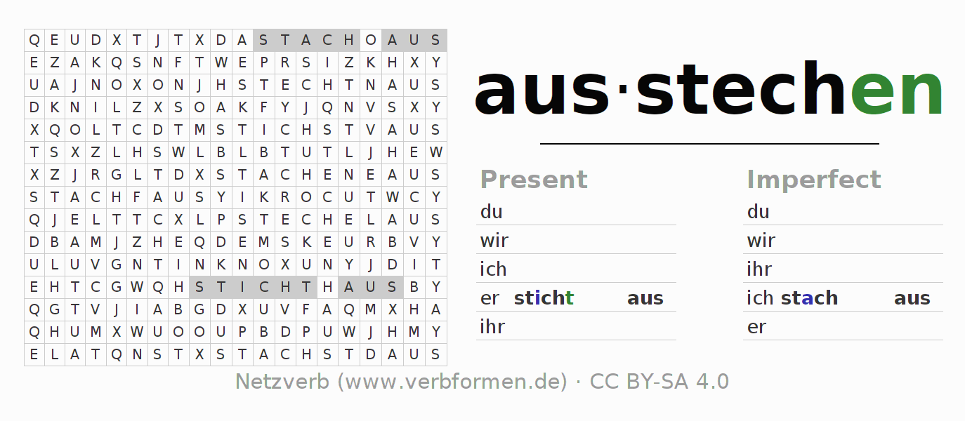 Word search puzzle for the conjugation of the verb ausstechen