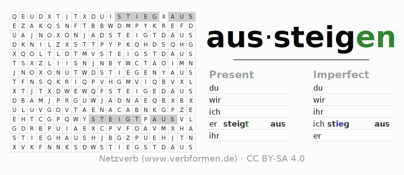 Word search puzzle for the conjugation of the verb aussteigen