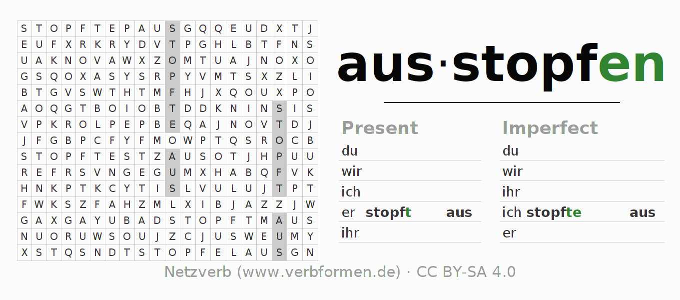 Word search puzzle for the conjugation of the verb ausstopfen