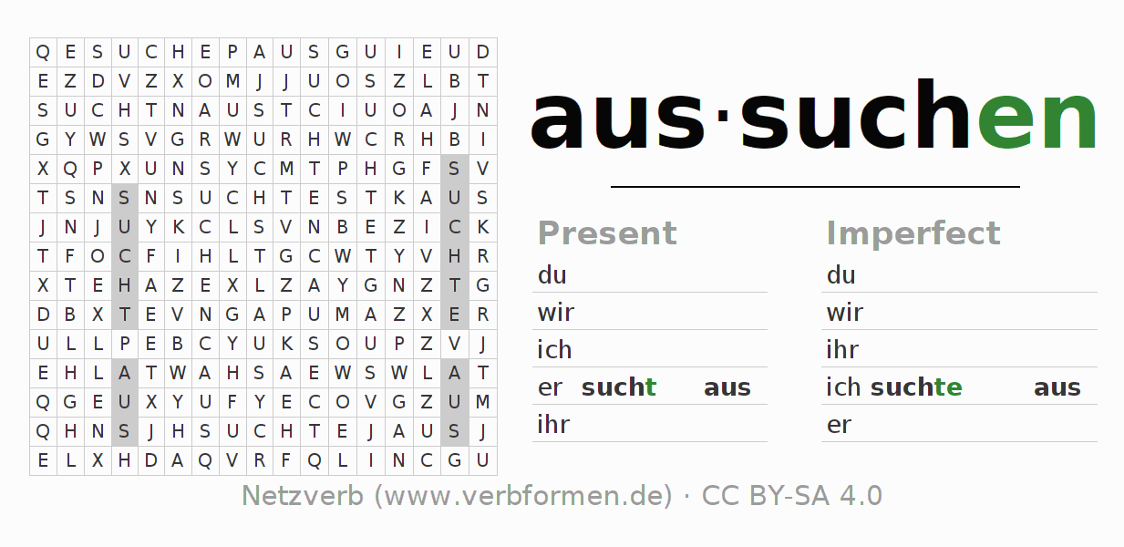 Word search puzzle for the conjugation of the verb aussuchen