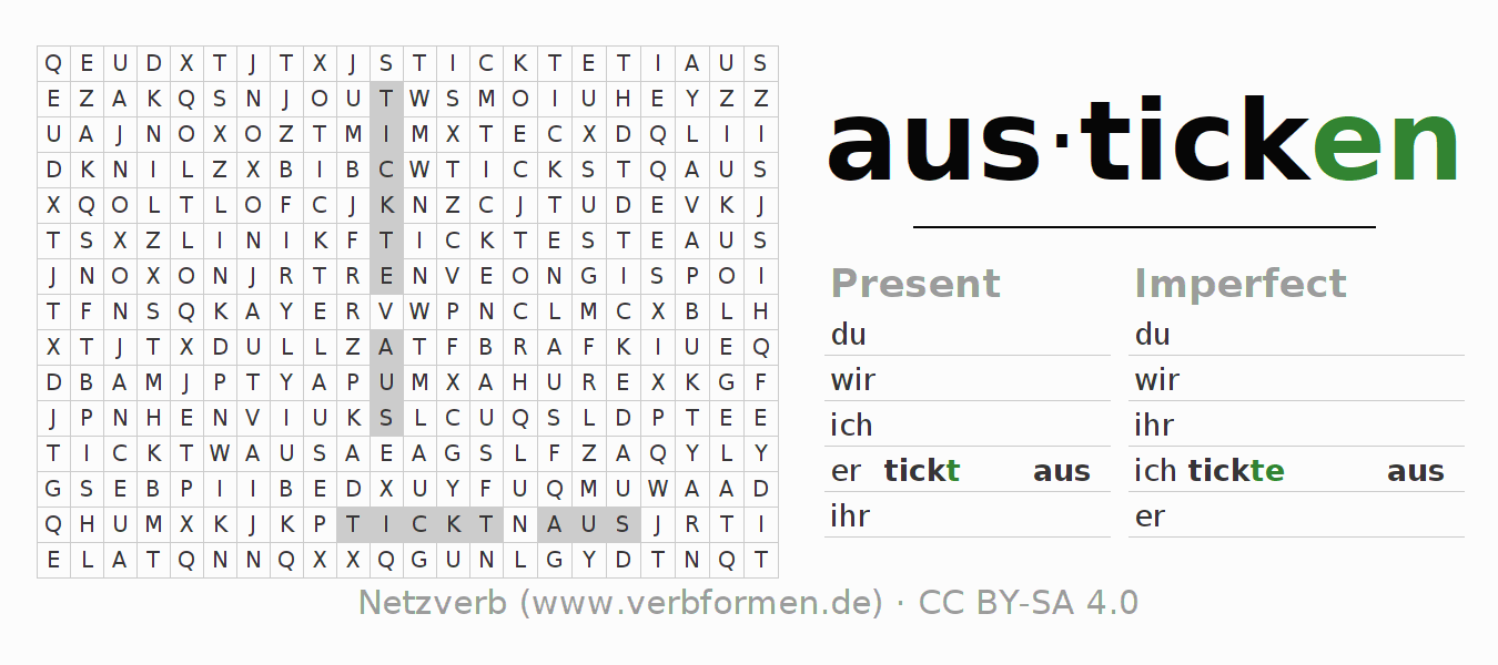 Word search puzzle for the conjugation of the verb austicken
