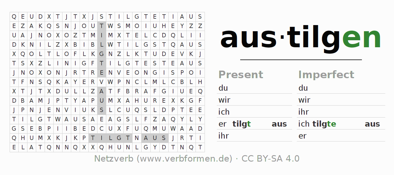 Word search puzzle for the conjugation of the verb austilgen