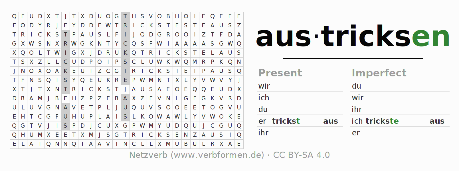 Word search puzzle for the conjugation of the verb austricksen