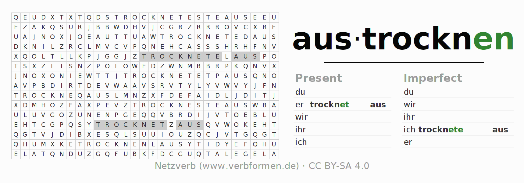 Word search puzzle for the conjugation of the verb austrocknen (ist)