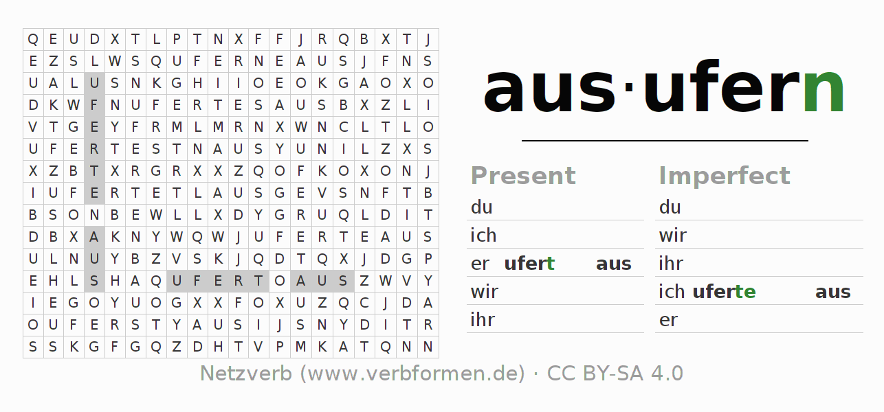 Word search puzzle for the conjugation of the verb ausufern