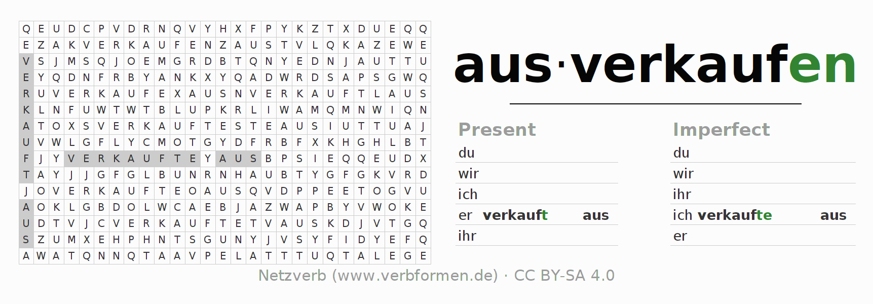 Word search puzzle for the conjugation of the verb ausverkaufen