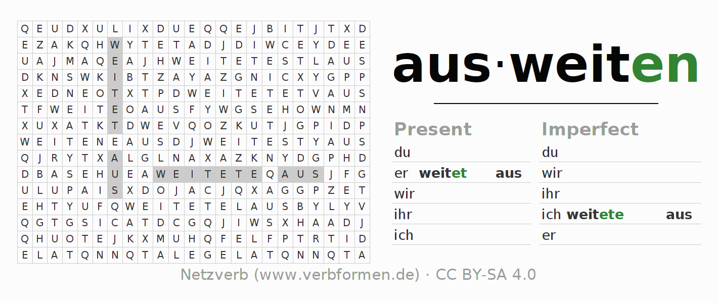 Word search puzzle for the conjugation of the verb ausweiten