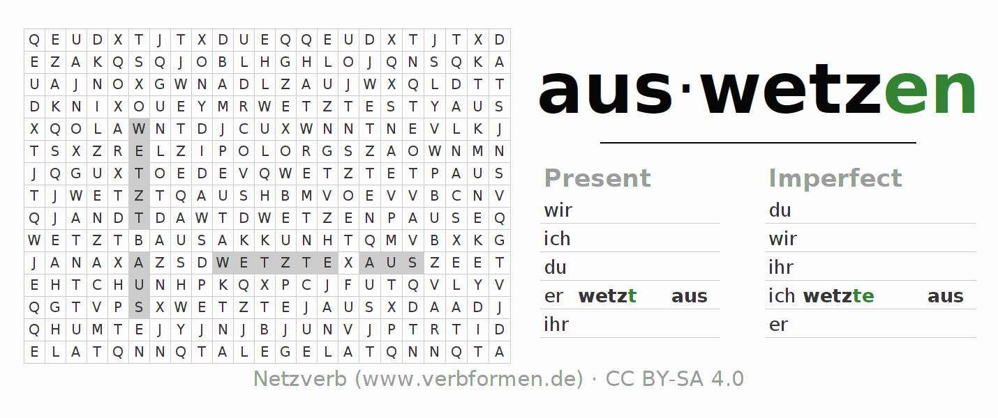 Word search puzzle for the conjugation of the verb auswetzen