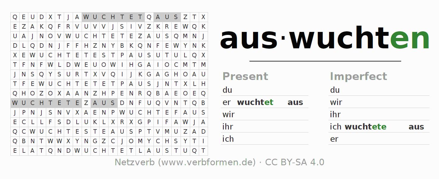 Word search puzzle for the conjugation of the verb auswuchten
