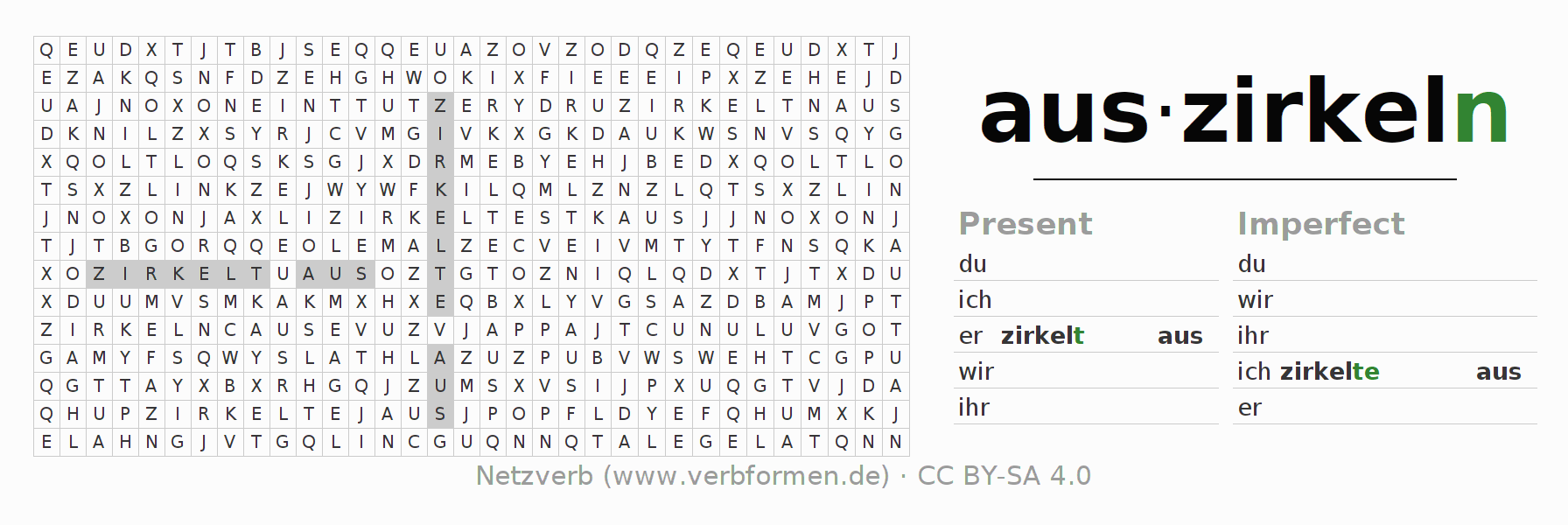 Word search puzzle for the conjugation of the verb auszirkeln