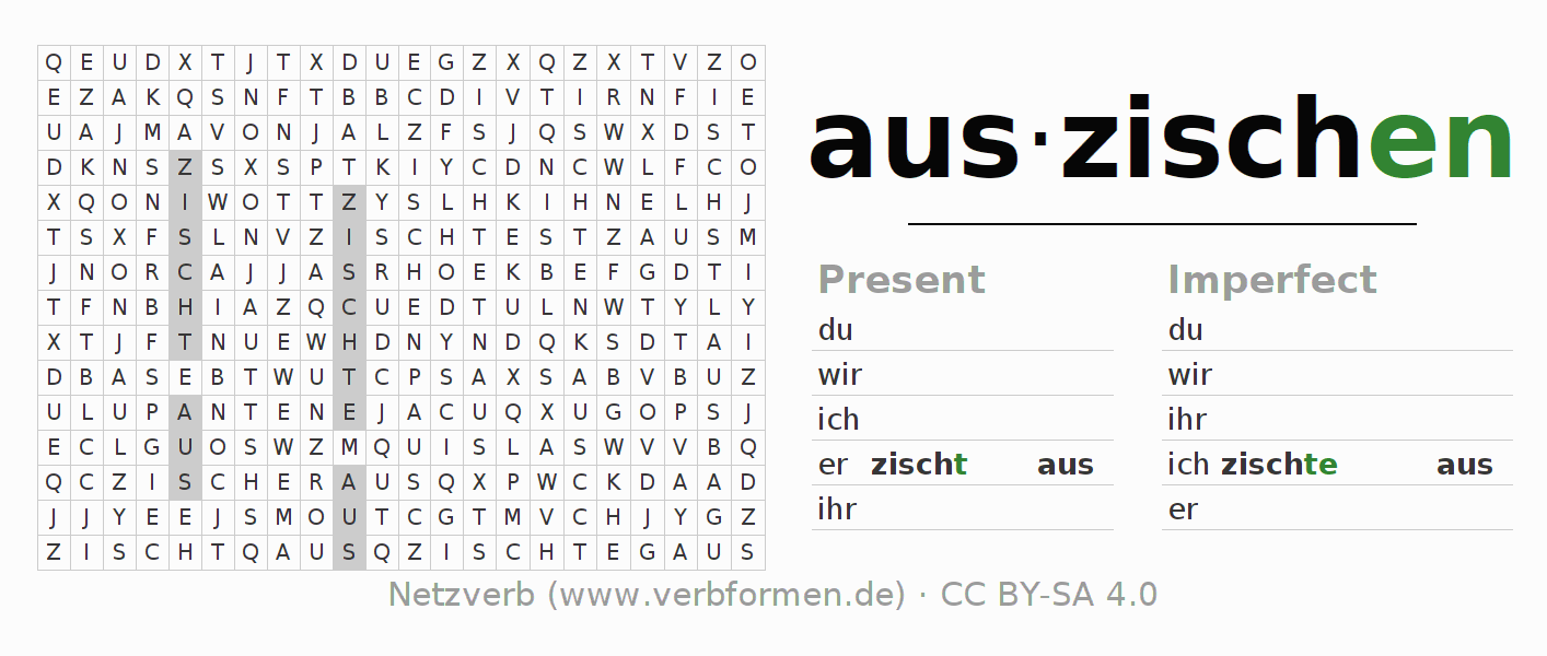 Word search puzzle for the conjugation of the verb auszischen (hat)