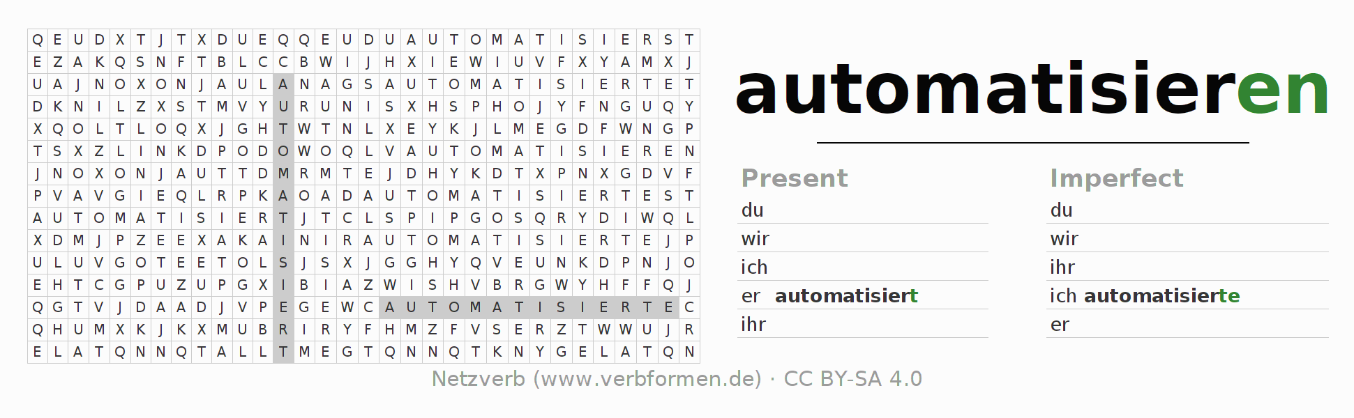 Word search puzzle for the conjugation of the verb automatisieren