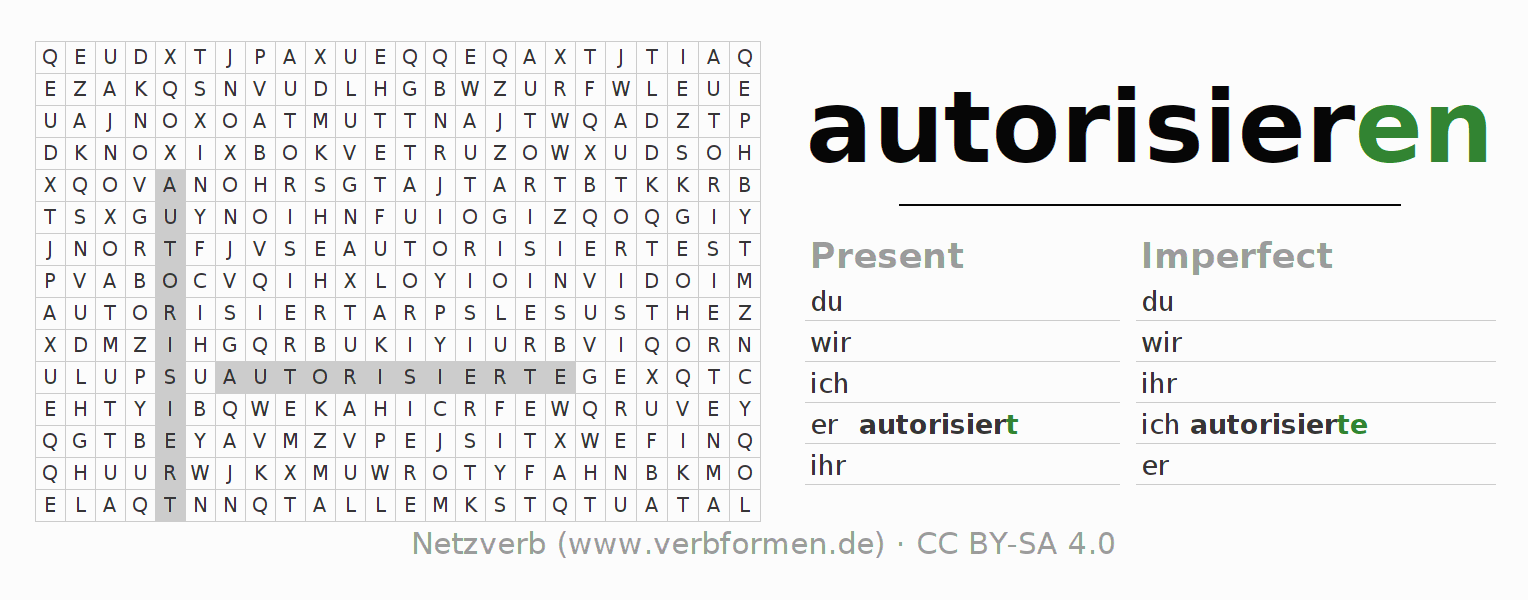 Word search puzzle for the conjugation of the verb autorisieren