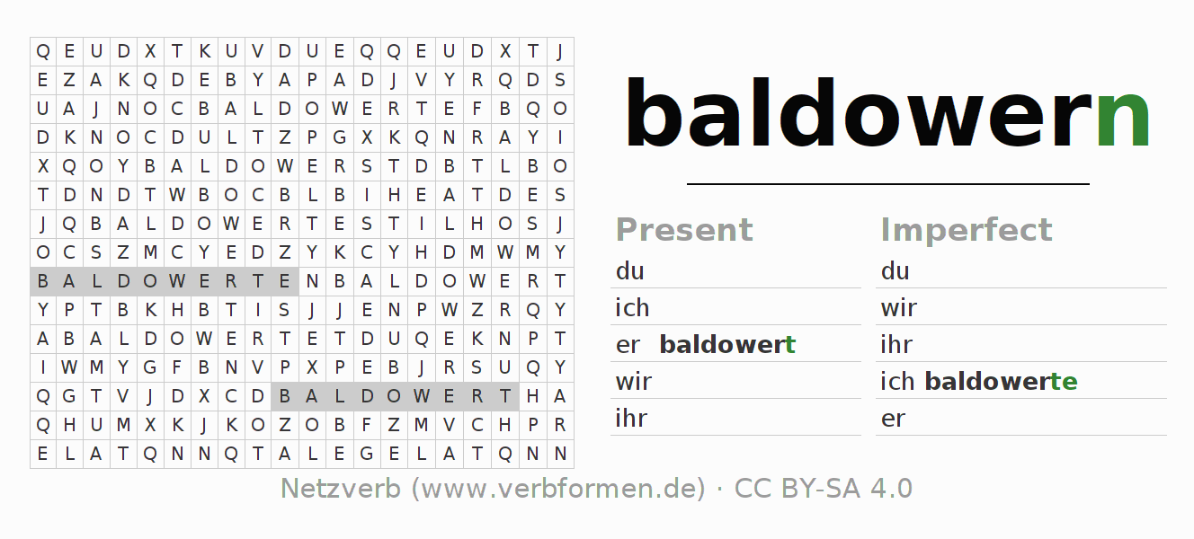 Word search puzzle for the conjugation of the verb baldowern