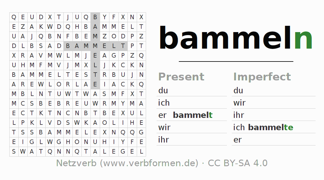 Word search puzzle for the conjugation of the verb bammeln