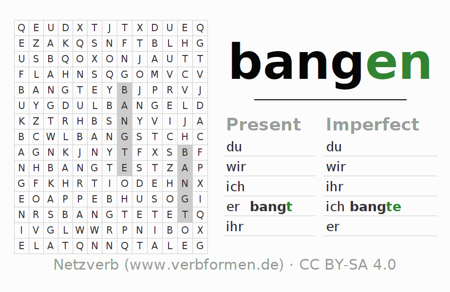 Word search puzzle for the conjugation of the verb bangen