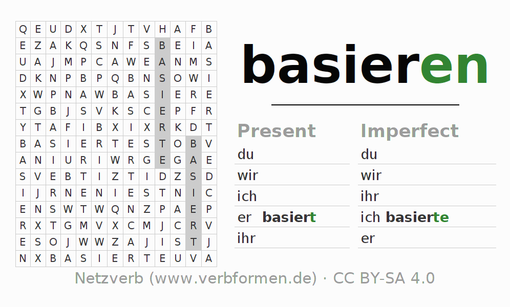 Word search puzzle for the conjugation of the verb basieren