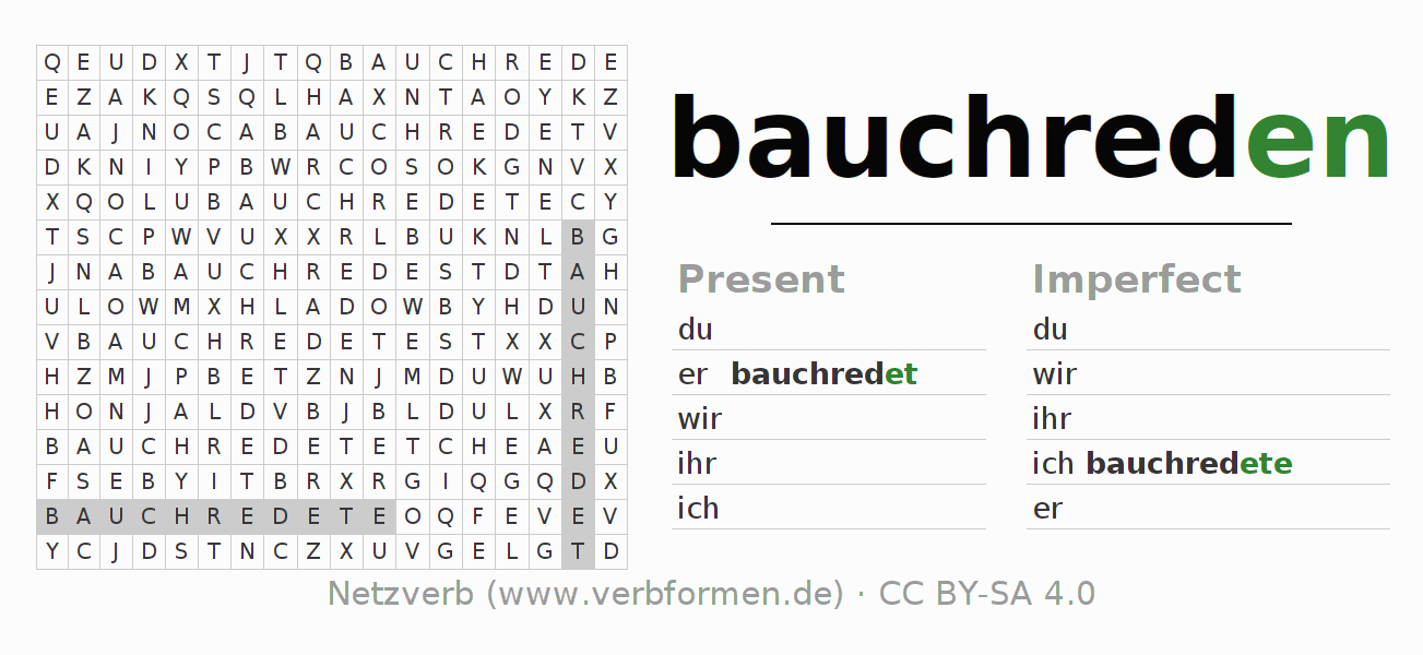 Word search puzzle for the conjugation of the verb bauchreden