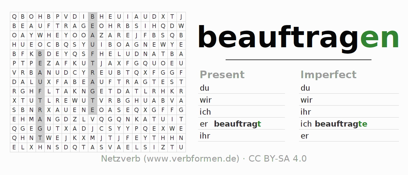 Word search puzzle for the conjugation of the verb beauftragen
