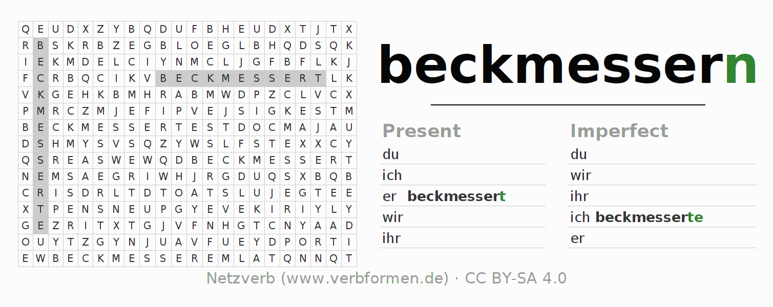 Word search puzzle for the conjugation of the verb beckmessern