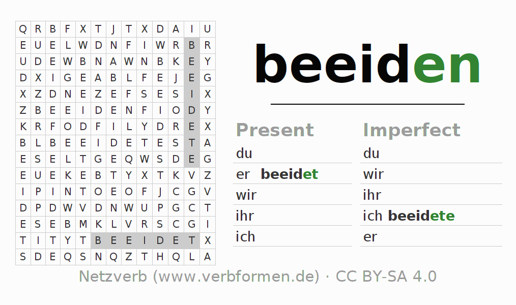 Word search puzzle for the conjugation of the verb beeiden