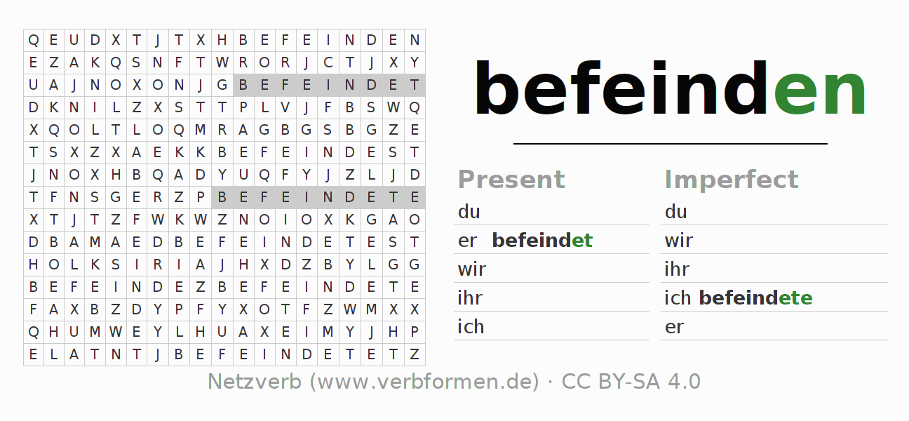 Word search puzzle for the conjugation of the verb befeinden