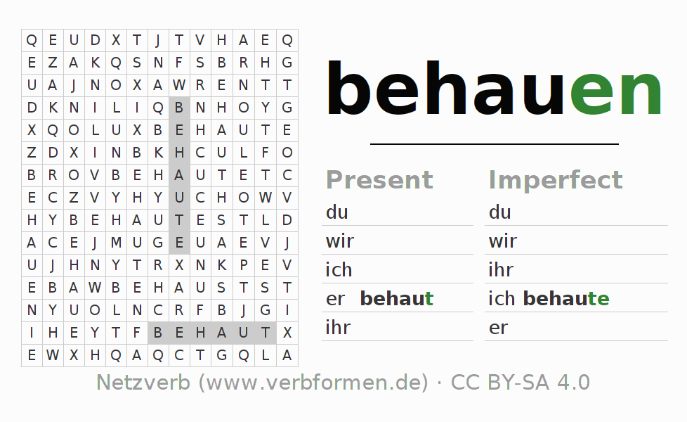 Word search puzzle for the conjugation of the verb behauen
